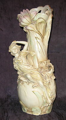 "Royal Dux Art Nouveau 16 3/8"" Vase with Nymph"