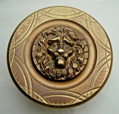 Greece vintage brass large door knob handle pull & push only w/LION head -D3
