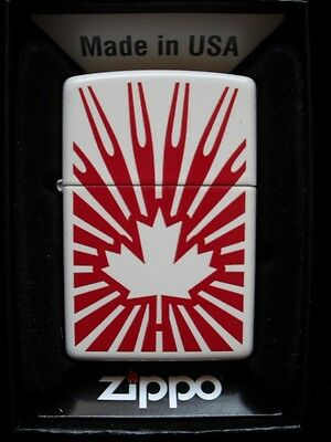 Canadanflag With Bursts Maple Leaf Zippo Lighter Gift Box White Red Shocking !