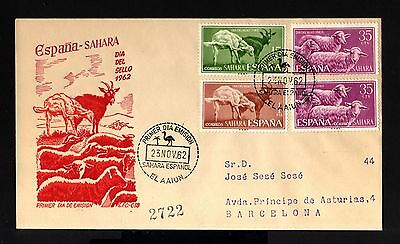 6695-SAHARA-EXCOLONIAS ESPAÑOLAS-FDC.REGISTERED COVER AAIUN.1962.SPAIN colonies