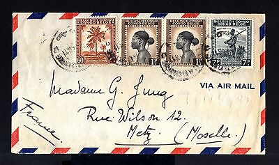 6710-BELGIAN CONGO-AIRMAIL COVER LEOPOLDVILLE to METZ (france)1946.WWII.AERIEN