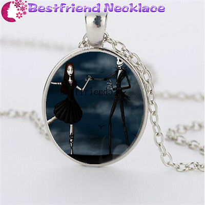 Nightmare Before Christmas jack&sally silver necklace for women men gift#YKL1