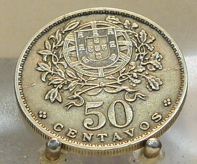 1928 Portugal 50 Centavos, Old World Copper Nickel Coin