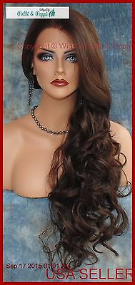 Long Wavy Hand Tied Lace Front Wig Color #4 *gorgeous Usa Seller 382