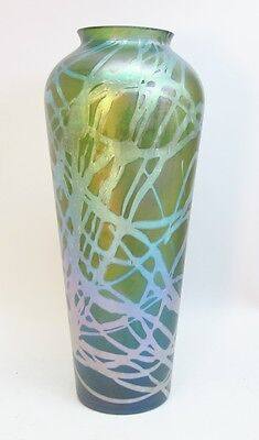 "Huge Antique 14.5"" Kralik Iridescent Art Glass Vase  c. 1905   Bohemian"