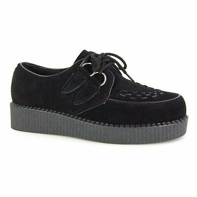 Mens Black Faux Suede Brothel Creepers Vintage Retro Punk Shoes Size