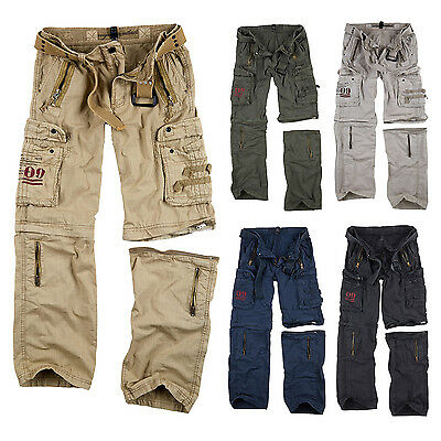 ★ SURPLUS Raw Vintage Royal OUTBACK Trousers Cargo Hose +ZIP OFF Shorts in einem
