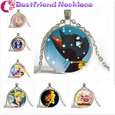 Silver Anime Sailor Moon Jewelry Glass Dome Pendant Necklace for woman jewelry