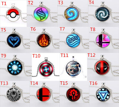 Anime Pokemon Pokeball/WoW World of Warcraft Mix style Glass Dome Necklace PICK
