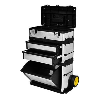 3-Part Rolling Tool box 2-Drawer Storage Chest Soft Rubber Wheels