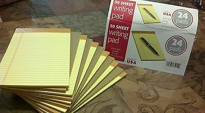 "12 Writing Pads Yellow 50 Sheet each 5"" x 8"" legal rule, 12 pack lot"