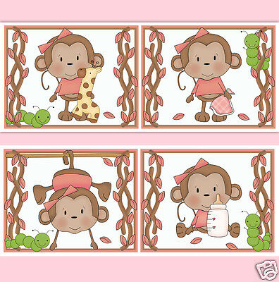 Monkey Nursery Wallpaper Border Wall Decals Baby Girl Safari Animal Art Stickers