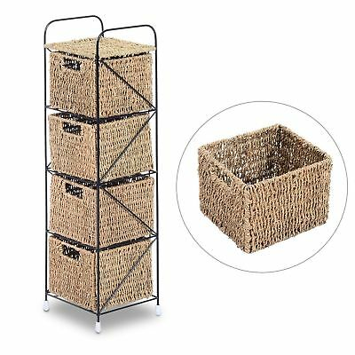 Compact Storage Shelf 4 Seagrass Baskets Removable Drawer Cabinet Home Organizer