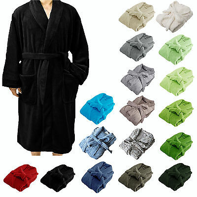 Plush Coral Fleece Bath Robe Dressing Gown Generous One Size Fit Most M to L
