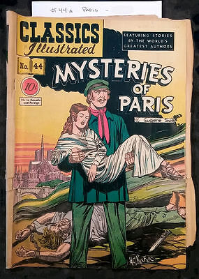 """Classics Illustrated #44 (HRN 44) First Edition """"Mysteries of Paris"""" ~ VG 4.0"""