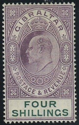 Gibraltar, SG 63, 1904 MCA 4/- deep purple and green, very fine mint example, Ca