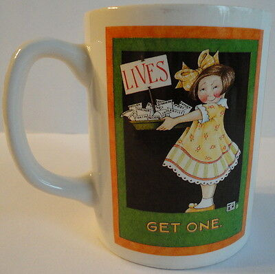 Mary Engelbreit Lives Get One Ceramic Coffee Mug Girl Yellow Dress 3 Panels