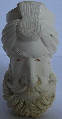 Turkish Prince Man Turban Meerschaum Well Carved Smoking Tobacco Pipe Bowl Only
