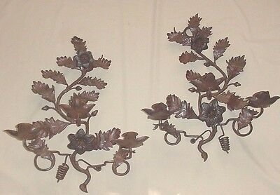 Antique Pair Iron Wall Sconces 3 Candles Each Flowers Leaves Genuine, Not Wired