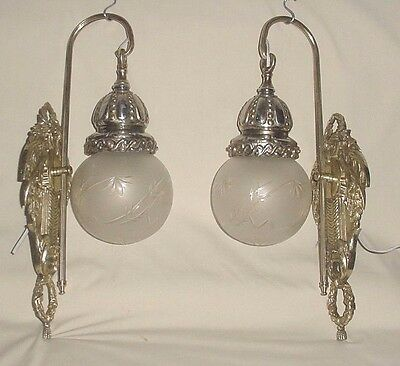 Antq Brass Bronze Wall Sconces Pendulum Crystal Cut Satin Frosted Glass Globes