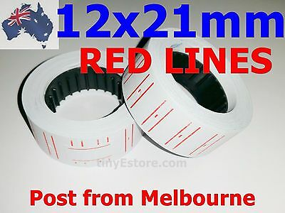 2x Rolls of White Paper Labels with *RED LINES* for Motex MX-5500 / 5500 etc