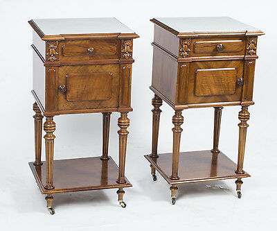 Antique pair of French Walnut Bedside Cabinets c.1880