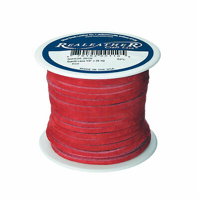 "Suede Lace Red 1/8"" x 25 yds. by Silver Creek Real Leather Made in USA"