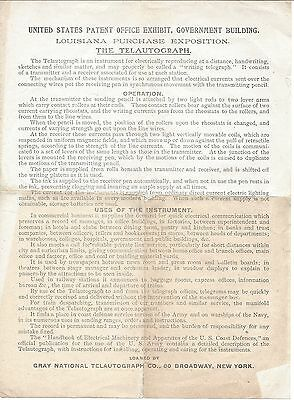 1904 World's Fair Circular for the US Patent Office Exhibit, The Telautograph