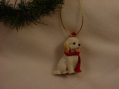 COCKAPOO dog HAND PAINTED ORNAMENT Resin Figurine WHITE puppy CHRISTMAS Holiday