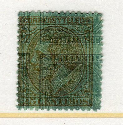 1879  Spain 25C Bluish Gray Off Upside Down And Brown Reside Up Mint Hinged