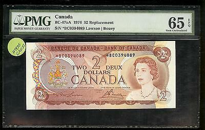 Canada - 2 Dollars Replacement, 1974. BC-47aA star. PMG 65 EPQ