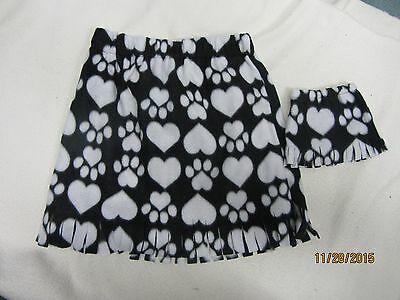 """Matching skirts for 18"""" doll American Girl & child size 7-8  BLACK & WHITE HEART"""