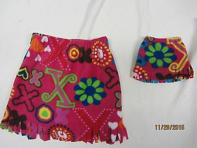"""Matching skirts for 18"""" doll American Girl & child size 6-7  FLOWERS HEARTS XO"""