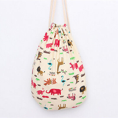 Handmade Linen Cotton Bag Draw String Backpack Printed Pink Hippo SD191 B#