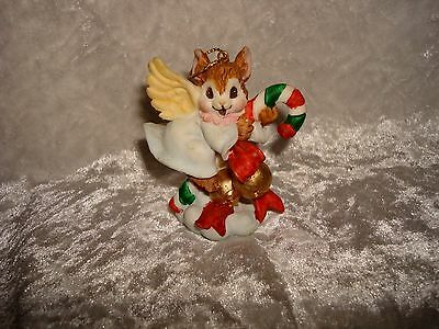 Angel Mouse Riding On A Candy Cane With Bells Ornament
