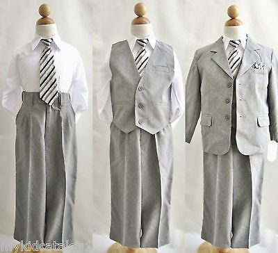 Well tailored 5 pc Light grey/Silver Chambray boy formal party suit all sizes