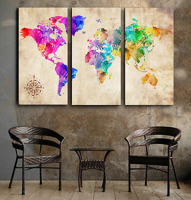 Beautiful Abstract World Map watercolor FRAMED Canvas prints Triptych