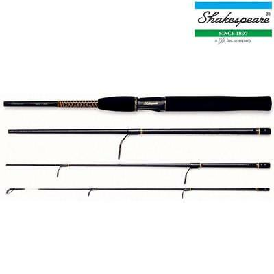 SHAKESPEARE UGLY STIK 4 PIECE TRAVEL SPIN 6.6ft SPINNING ROD STICK