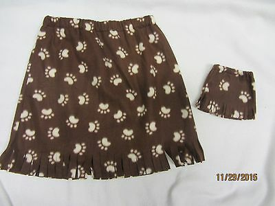 """Matching skirts for 18"""" doll American Girl & child sz12-14  PAW PRINTS"""