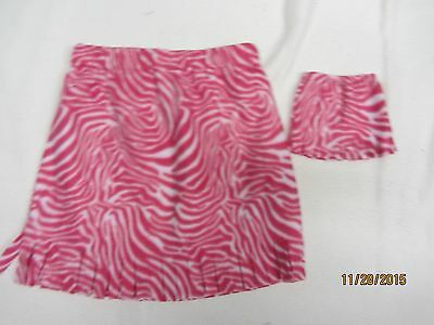 """Matching skirts for 18"""" doll American Girl & child size 10-12 PINK ANIMAL PRINT"""