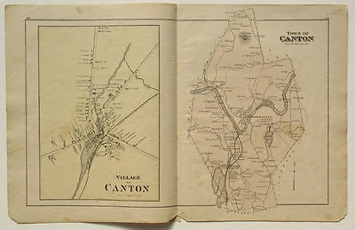 CANTON Town Village Map Caldwell Halfpenny 1880 Atlas of Oxford County Maine ME