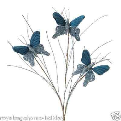 """56279 27"""" Blue Glitter Butterfly Spray Floral Pick Spring Easter Decoration"""