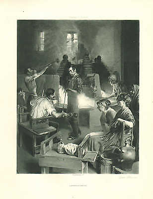 Glass Blowing Factory, Glass Blowers, by Charles Ulrich, 1890 Antique Art Print