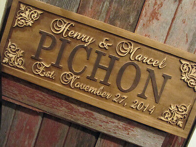 Personalized Family Last Name Sign Couple Wedding Gift Custom Carved