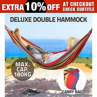 Double Hammocks Tent Stand Chair Hanging Swinging Camping Outdoor Cotton Frame