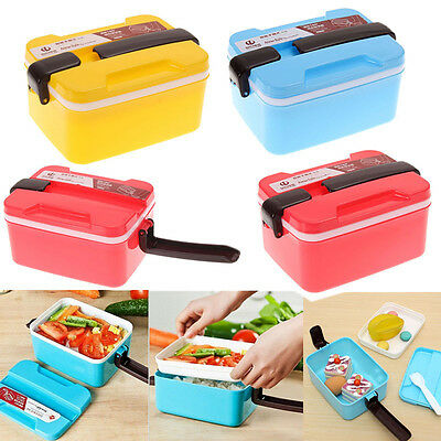 2 Layer Microwave Handle Bento Lunch Box Picnic Food Container Spoon Storage New