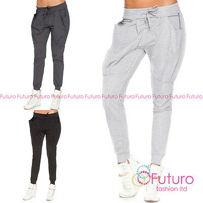 Womens Sport Cuffed Pants Big Pockets Joggers Bottoms Trousers Size 8-10 FT3003