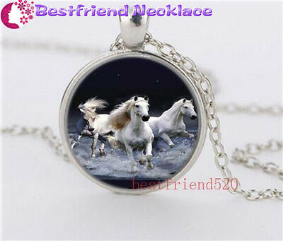 Running Free Horse Cabochon Glass silver necklace for women men Jewelry