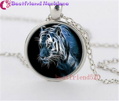 New White Tiger Cabochon Glass silver necklace for women men Jewelry