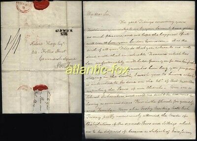 1818 ALNWICK p/m Letter John Thirlwell with Plan Of CHURCH PEWS to Robert Thorp